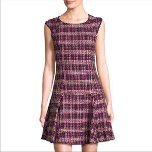 Nanette Lepore Cap-Sleeve Tweed Flounce Dress